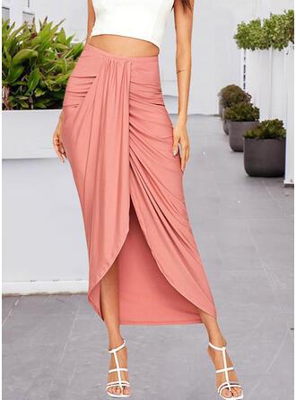 Cotton Plain Asymmetrical Pencil Skirts