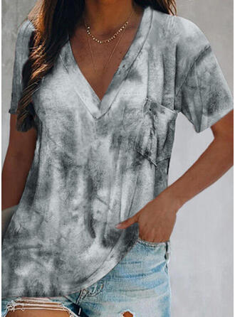 Tie Dye Col V Manches Courtes T-shirts