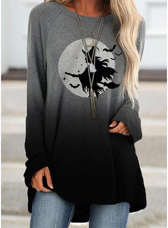 Halloween Print Gradient Animal Round Neck Long Sleeves Sweatshirt
