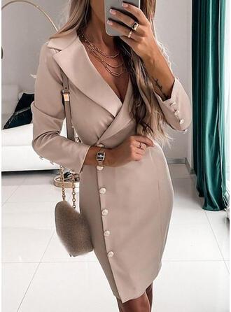 Solid Long Sleeves Sheath Above Knee Elegant/Office/Business Dresses
