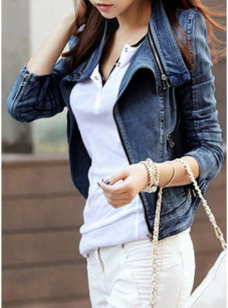 Treillis Manches longues Couleur unie Vestes en jean