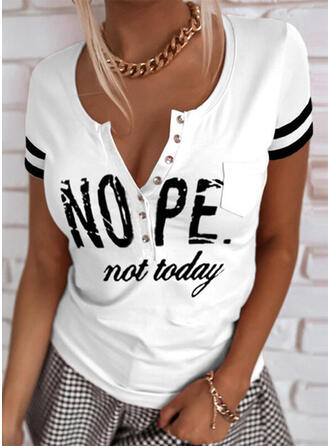 Print Striped Letter V-Neck Short Sleeves Button Up Casual Blouses