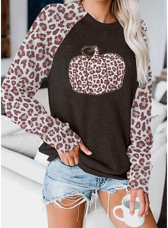 Leopard Halloween Round Neck Long Sleeves Sweatshirt