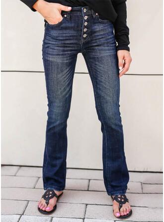 Solid Denim Long Elegant Vintage Plus Size Pocket Button Denim & Jeans
