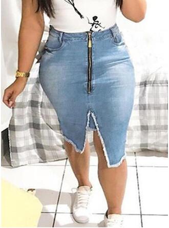Denim Plain Knee Length Pencil Skirts Bodycon Skirts