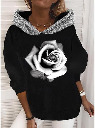 Print Floral Sequins Long Sleeves Hoodie