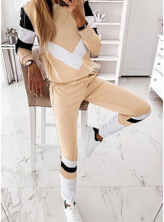 Color Block Sporty Casual Plus Size Sweatshirts & Two-Piece Outfits Set