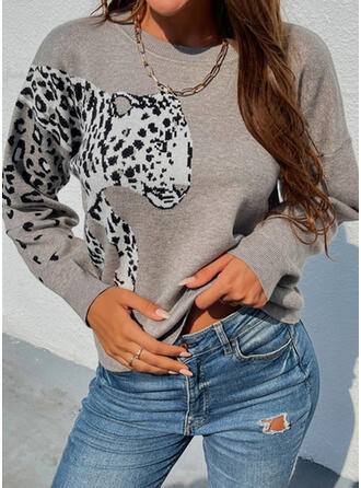 Leopard Animal Round Neck Casual Sweaters