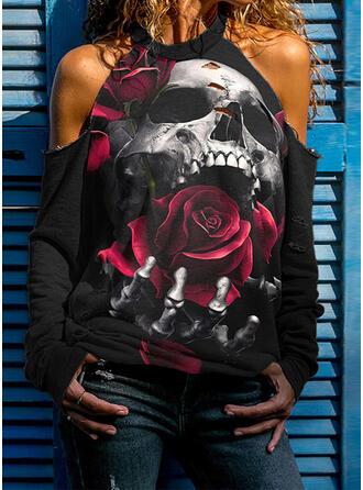 Print Skull head Cold Shoulder Long Sleeves Sweatshirt