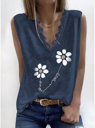 Floral Lace Print Letter V-Neck Sleeveless Tank Tops