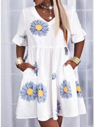 Imprimée/Fleurie Manches 1/2 Droite Au-dessus Du Genou Décontractée Tunique Robes