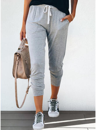 Solid Cropped Casual Sporty Plus Size Pocket Drawstring Pants Lounge Pants