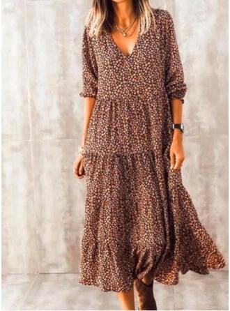 Print/Floral Long Sleeves Shift Casual Midi Dresses