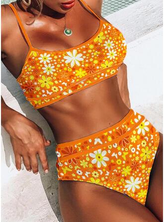 Fleuris Imprimé Tropical À Bretelles Col U Accrocheur Boho Bikinis Maillots De Bain
