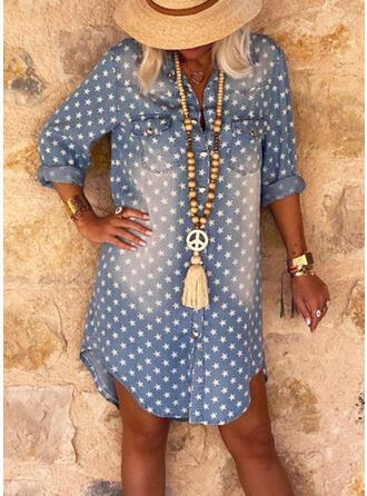 Print Denim Long Sleeves Shift Mini Casual Dresses