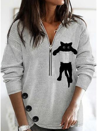 Print Animal Lapel Long Sleeves Sweatshirt