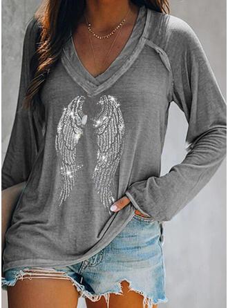 Paillettes Col V Manches Longues T-shirts
