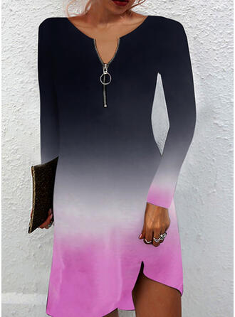 Gradient Long Sleeves Shift Above Knee Casual Tunic Dresses