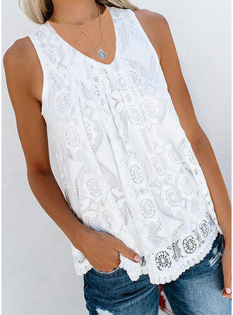 Lace Solid V-Neck Sleeveless Tank Tops
