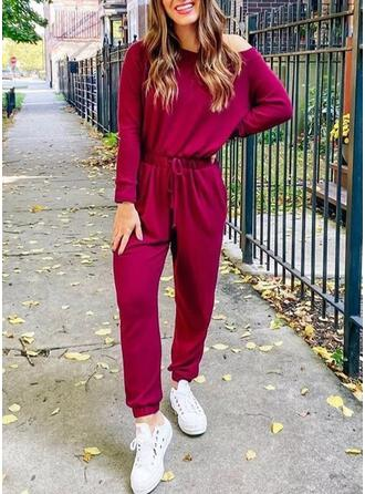 Solid One Shoulder Long Sleeves Casual Plus Size Jumpsuit