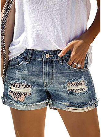 Patchwork Imprimé Déchiré Sexy Tribal Short Jeans