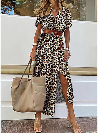 Leopard Short Sleeves A-line Skater Casual/Vacation Midi Dresses