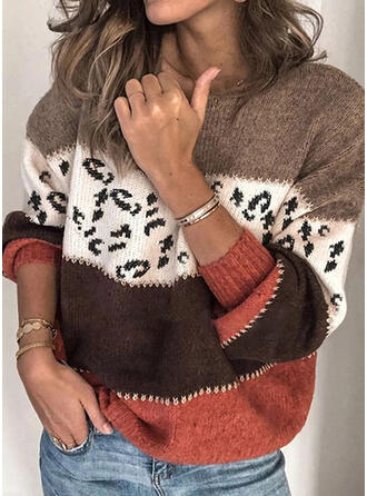 Print Color Block Leopard Round Neck Casual Sweaters