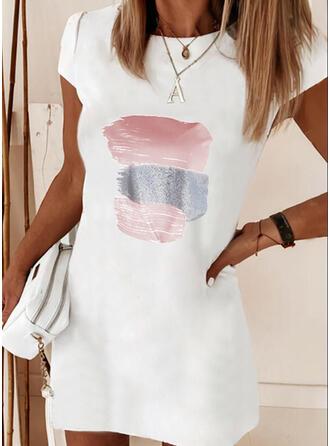 Imprimée Manches Courtes Droite Au-dessus Du Genou Décontractée T-shirt Robes