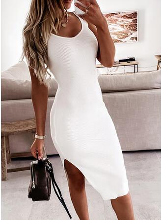 Solid/Backless Sleeveless Sheath Knee Length Sexy/Vacation Dresses