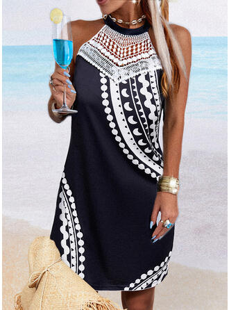 Lace/Print Sleeveless Shift Above Knee Casual Dresses
