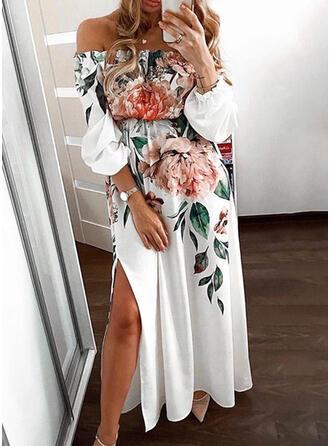 Imprimée/Fleurie Manches Longues Trapèze Patineuse Fête Maxi Robes