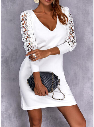 Solid Lace Long Sleeves Sheath Above Knee Elegant Sweater Dresses