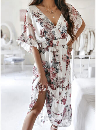 Print/Floral 1/2 Sleeves/Flare Sleeves A-line Skater Casual Midi Dresses