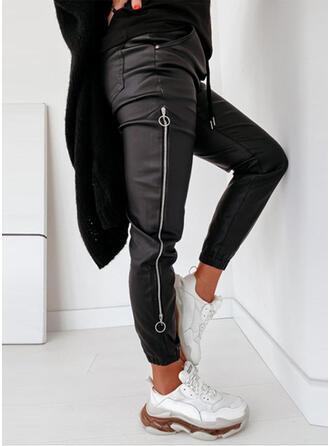 Solid PU Long Sporty Vintage Pocket Shirred Drawstring Pants