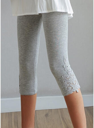 Solid Capris Casual Plus Size Jacquard Hollow Out Pants Leggings