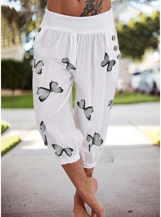 Print Butterfly Capris Casual Vacation Plus Size Pocket Button Pants Lounge Pants