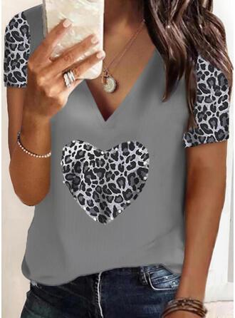 Perlée Léopard Cœur Col V Manches Courtes T-shirts