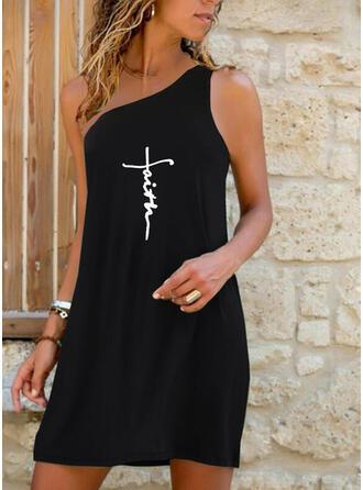 Print/Letter Sleeveless Shift Knee Length Casual Dresses