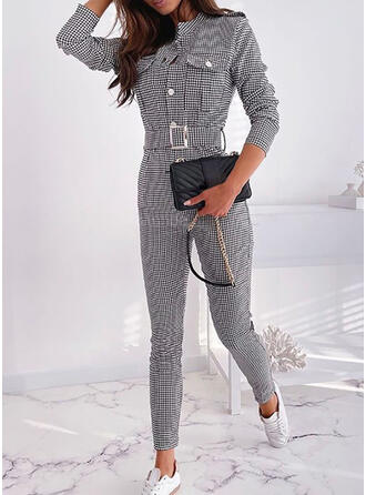 Plaid Round Neck Long Sleeves Office/Business Plus Size Jumpsuit
