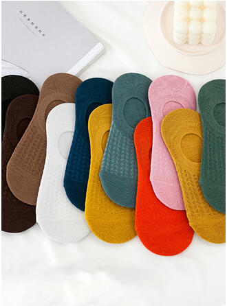 Couleur unie/Crochet Multicolore/Chaussette de cheville Chaussettes 10 paires