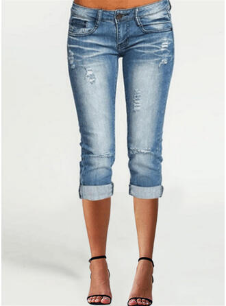 Solid Capris Casual Plus Size Pocket Shirred Ripped Button Pants Denim & Jeans