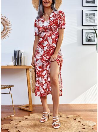 Print Short Sleeves A-line Skater Casual Midi Dresses
