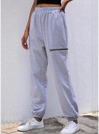 Solid Long Casual Shirred Pants
