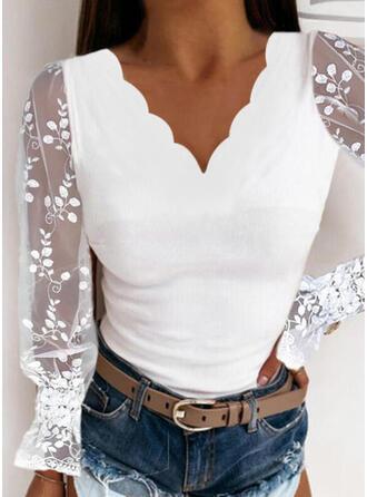 Solid V-Neck Long Sleeves Lantern Sleeve Elegant Blouses