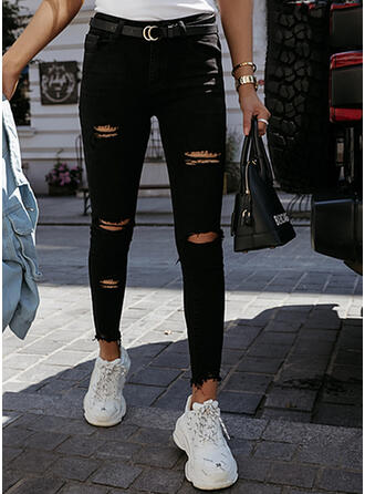 Solid Denim Long Casual Sexy Plus Size Pocket Ripped Denim & Jeans