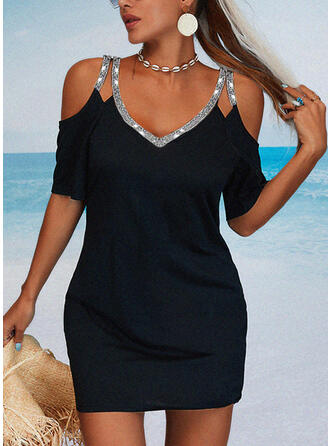 Solid Sequins 1/2 Sleeves Sheath Above Knee Little Black/Casual/Vacation Dresses