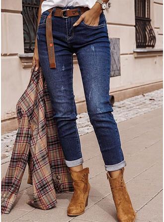 Solid Denim Long Casual Elegant Plus Size Pocket Ripped Denim & Jeans