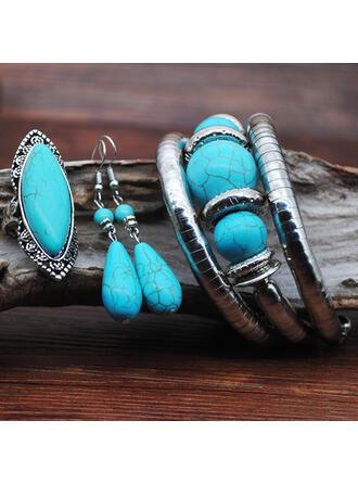 Exotique Bohème Alliage Turquoise avec Gemme Parures Boucles d'oreilles Bracelets Bagues (Lot de 3)