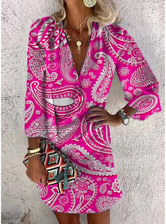 Print Long Sleeves Shift Above Knee Casual Tunic Dresses