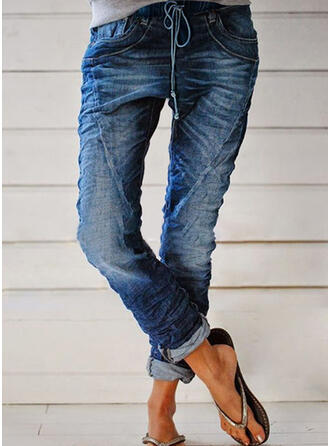 Solid Cotton Long Casual Plus Size Pocket Shirred Drawstring Pants Denim & Jeans
